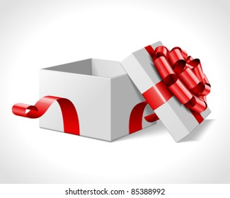 Open gift box with red bow isolated on white. Vector illustration eps 10.