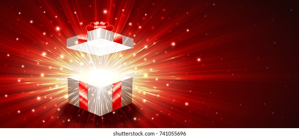 Open gift box with a shining exploding firework of glitters and radial zoom of light rays. Greeting banner for Christmas, New Year, Birthday. Vector illustration are proportion to 8.5x3.66 flyer size