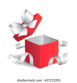 Open gift box with white ribbon. Vector illustration