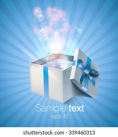 Open gift boxes and with blue bow and ribbon. vector design on blue background.