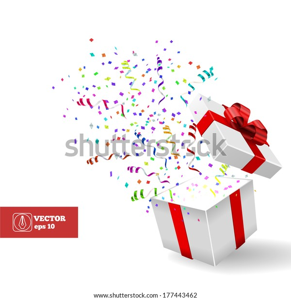 Open Gift Confetti Christmas Vector Background Stock Vector Royalty Free 177443462