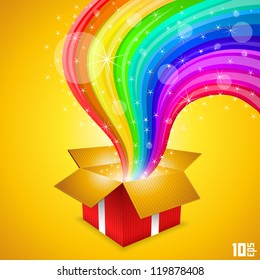 Open gift with rainbow