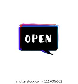 Open glitch singboard isolated on white background. Vector illustration.
