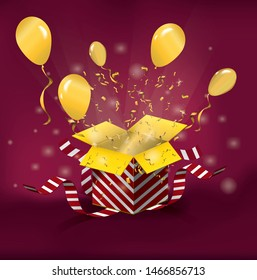 Open glowing magic surprise gift box and balloons. Red striped carton box. Golden confetti explosion and magic light comming from Inside. Bright festive golden color tinsel . Vector Illustration