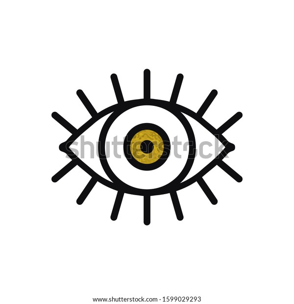Open Gold Eye Line Icon On Stock Vector Royalty Free 1599029293