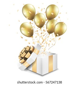 Open gold gift box with balloons