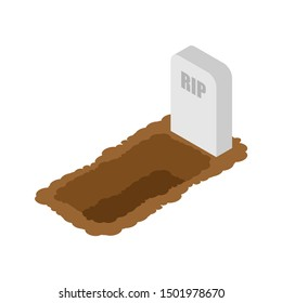 Open grave isolated. Stone tombstone stands. vector illustration