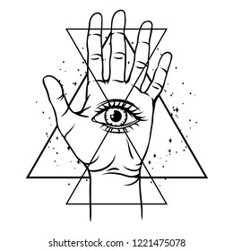 Open hand with all seeing eye symbol. Spirituality, astrology and esoteric concept. Black and white hand drawn illustration.
