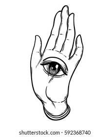 Open hand with the all-seeing eye on the palm. Occult design vector illustration.  Dotwork ink tattoo flash design. Vector illustration isolated on white. Astrology, Sacred Spirit. Masonic sign.