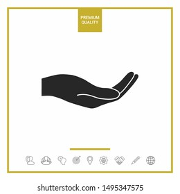 Open hand icon. Graphic elements for your design