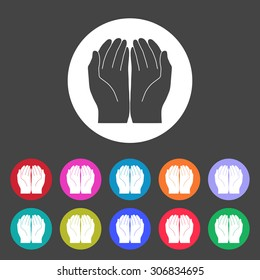 Open hand icon. Set of colored icons.