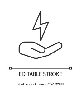 Open hand with lightning bolt linear icon. Electrification. Thin line illustration. Electricity economy. Contour symbol. Vector isolated outline drawing. Editable stroke