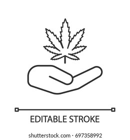 Open hand with marijuana leaf linear icon. Thin line illustration. Cannabis legalization. Contour symbol. Vector isolated outline drawing