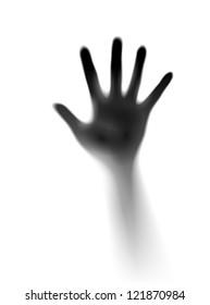 Open hand in the mist. Illustration of designer