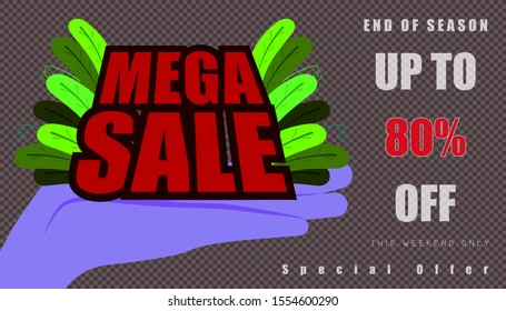 open the hand for show mega sale and leaf. up to 80% end of year special offer word character. vector illustration eps10