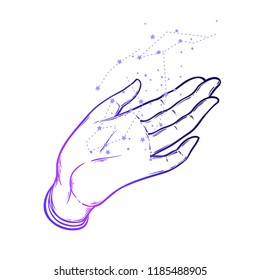 Open hands with constellation. Hand drawn illustration. Occult design vector illustration.Tattoo flash design. Vector isolated on white. Astrology, astronomy, stars. Sacred Spirit.