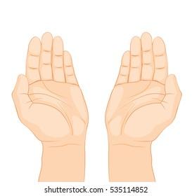 Open hands prayer on white background. Isolated vector illustration