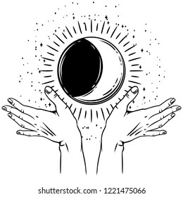 Open hands with vintage moon. Spirituality, astrology and esoteric concept. Black and white hand drawn illustration.