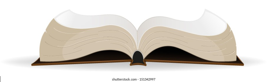 Open  hardcover book on a white background.