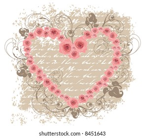open heart pink roses love poem valentine (vector)
