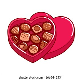 Open heart shaped box of chocolates, Valentine's day gift. Isolated cartoon vector clip art illustration.