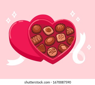 Open heart shaped box of chocolates with white ribbon on pink background. Valentine's day gift. Cartoon vector clip art illustration.
