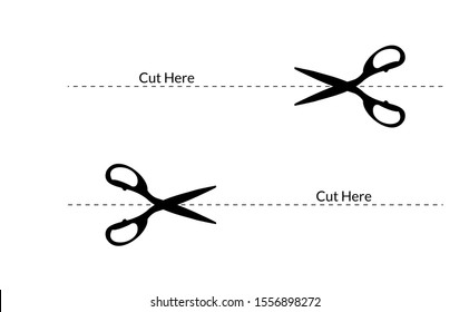 Open from here or cut here line symbol. Cut here slitting symbol vector for cut out icon or paper line cut.