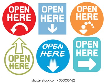 open here stickers set