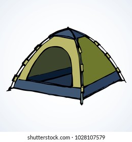 Open hiker resort booth tarpaulin habitation on white backdrop. Bright olive color hand drawn logo sketchy in art modern scribble contour style pen on paper. Closeup view and space for text