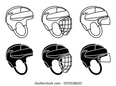 open hockey helmet icon, with protective grill and transparent visor. Ice hockey field player protective gear. Vector