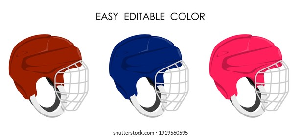 open hockey helmet with protective grill isolated on white background. Ice hockey field player protective gear. Vector in cartoon style