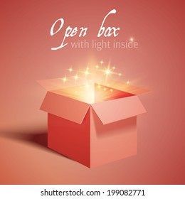 Open holiday box with light & stars. Vector illustration