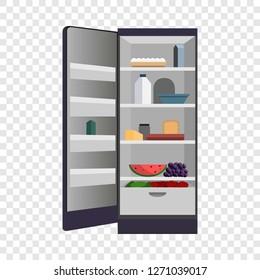 Open home fridge refrigerator icon. Cartoon of open home fridge refrigerator vector icon for web design for web design