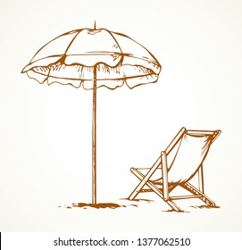 Open hotel cover shelter stand on sky space for text. Line black ink hand drawn tropic trip seashore hot camp tan comfort lie seat sign. Sit tent object icon sketch in art retro doodle cartoon style