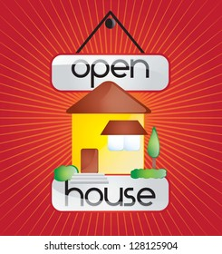Open house announcement over red background. vector