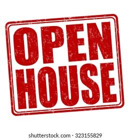 Open house grunge rubber stamp on white background, vector illustration
