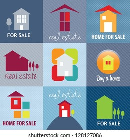 Open house icons set,  over blue background. vector illustration.