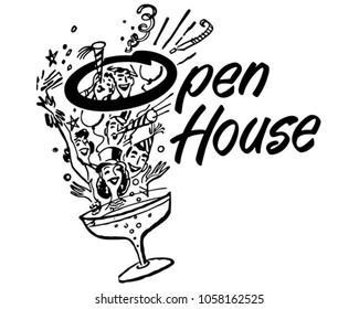 Open House Party Banner - Retro Clip Art Illustration