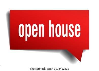 open house red 3d square isolated speech bubble