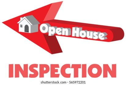 Open House in red arrow pointing to a 3D vector house with the concept of sale or rent or inspection in vector illustration isolated in white background.