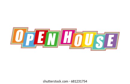 OPEN HOUSE text lettering. vector illustration