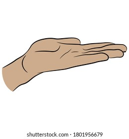 Open human hand in flat holding gesture. Cartoon style.