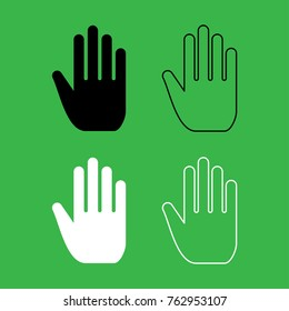 Open human hand icon . Black and white color set .