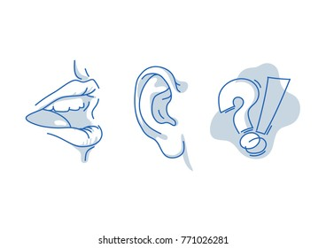 Open human mouth, speaking and listening. Hearing and understanding the words. Human sense isolated on white background. Suitable for info graphics, websites and print media. Line vector icon.