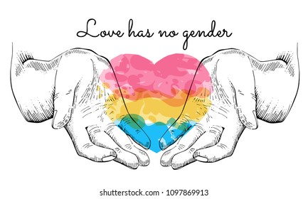 Open human palms, holding heart of pansexual flag colors, love has no gender, vector