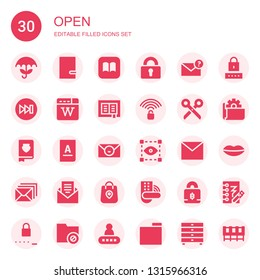 open icon set. Collection of 30 filled open icons included Umbrella, Notebook, Ibooks, Padlock, Email, Forwards, Wikipedia, Book, Unlocked, Scissors, Visual, Mail, Package, Password