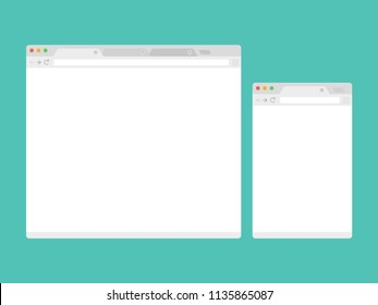Open Internet browser window in a flat style. Design a simple blank web page.