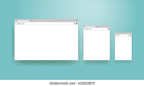 Open Internet browser window in a flat style. Design a simple blank web page. Template Browser window on your PC, tablet and mobile phone. Vector illustration. Isolated on a turquoise background.