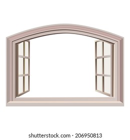 Open italian window. Isolated on white. With place for text. Building element. Vector illustration.