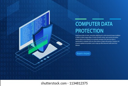 Open laptop with authorization form on screen, personal data protection and processing, information storage protocol isometric. Data Access, login form on screen of computer, personal account.